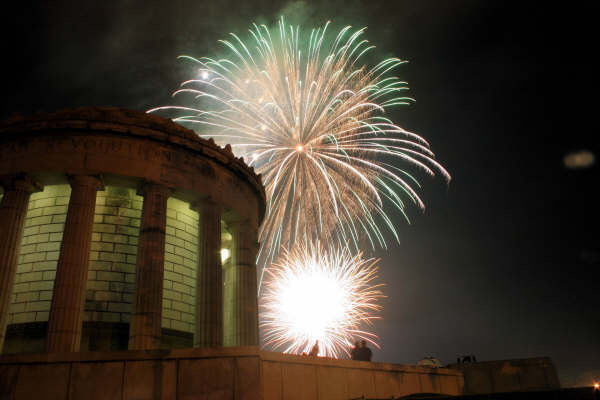 Fireworks behind the Clark Memorial
