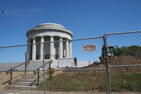 George Rogers Clark Memorial behind construction fence.
