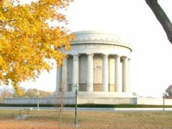 George Rogers Clark memroial with yellow fall leaves in the foreground