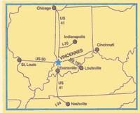 Map showing location of Vincennes in South West corner of Indiana