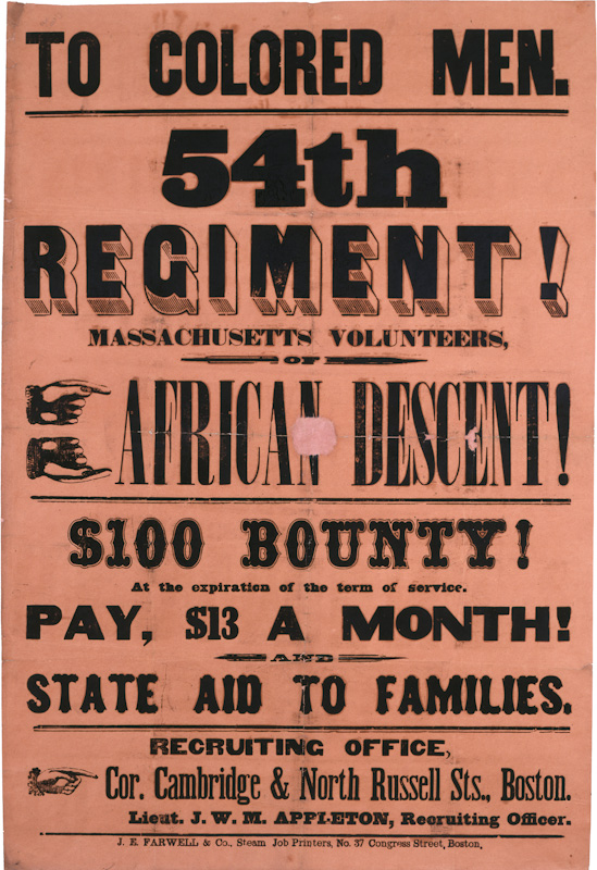 Recruiting Poster for the 54th Massachusetts Infantry, from the Collections of the Massachusetts Historical Society