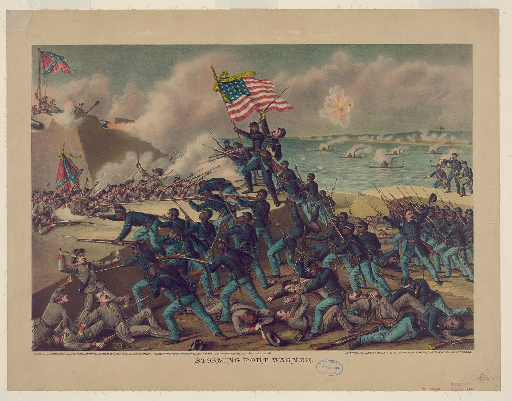 Lithograph of the Attack on Fort Wagner by Kurz and Alison, Library of Congress
