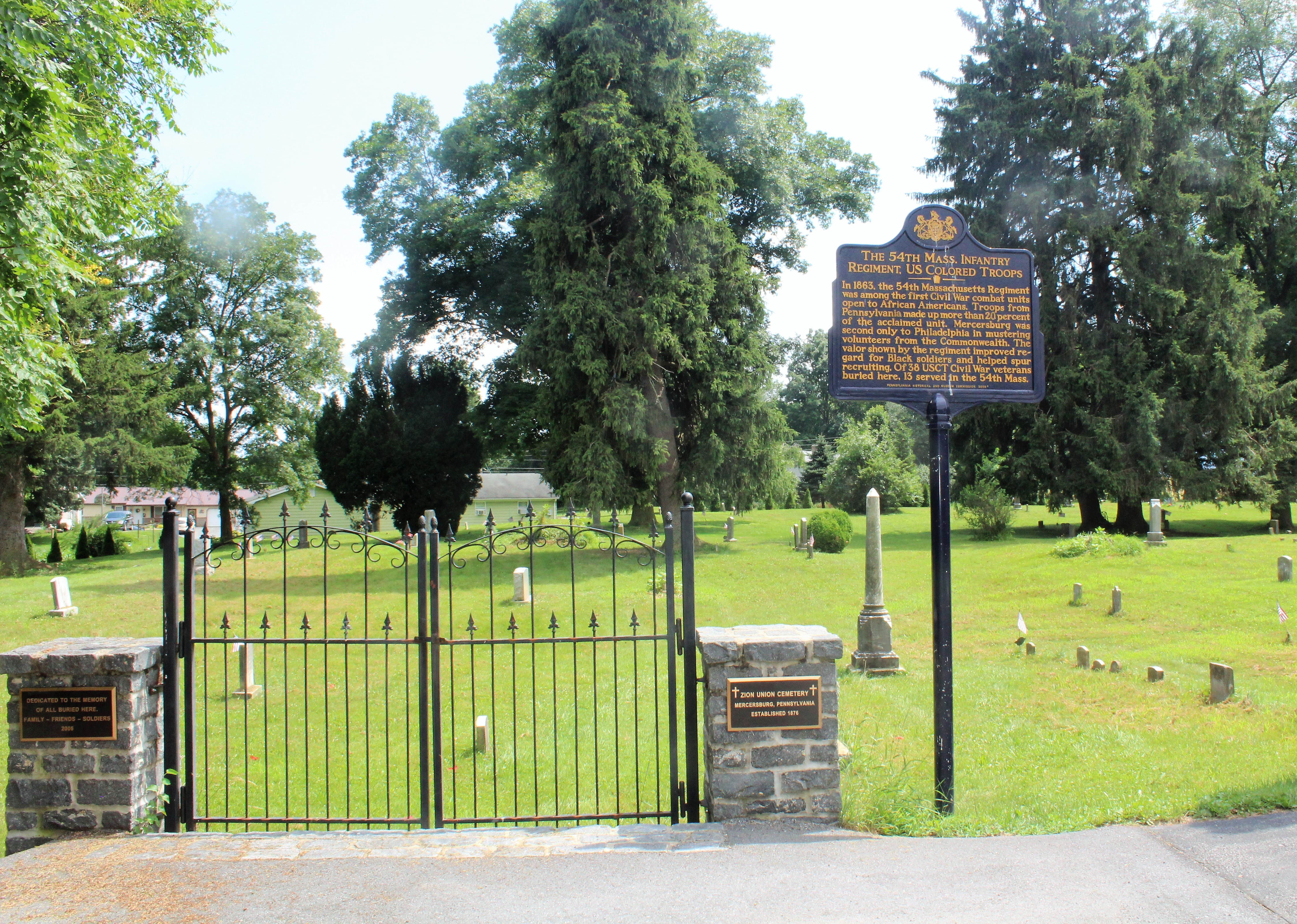 Entrance gate of Zion Union Cemetery, Mercersburg, PA