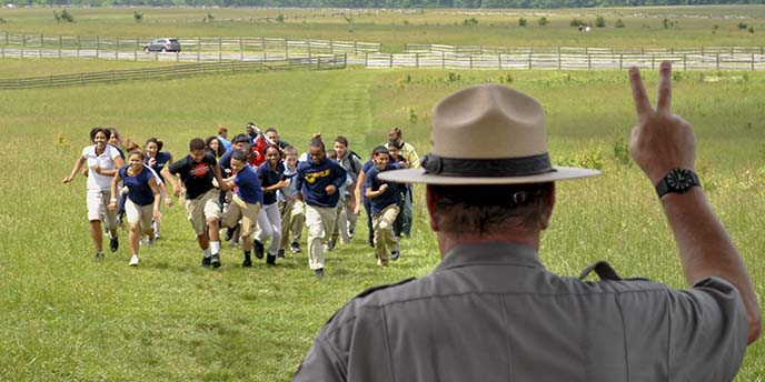 Students participate in Pickett's Charge.