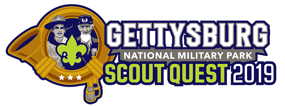 The Gettysburg Scout Quest logo has a scout and a Civil War veteran in the center of a golden horn.