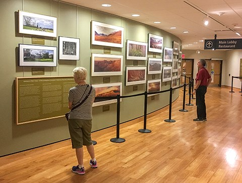 "Visitors enjoy the new ""America's Best Idea""  exhibit at the Museum and Visitor Center."