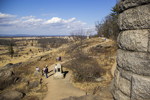 The Little Round Top Rehabilitation Project will refine gathering areas and link them to interpretive themes and objectives.
