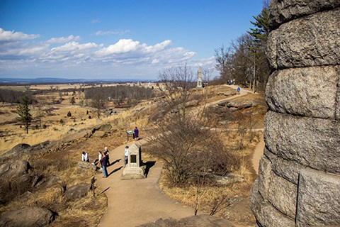 The summit of Little Round Top as seen from the top of the 44th New York monument.