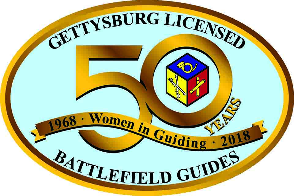Oval logo with gold edge and blue background. Across the top is Gettysburg Licensed. Across the bottom is Battlefield Guides. In the center is 50 Year Women in Guiding 1968 - 2018.