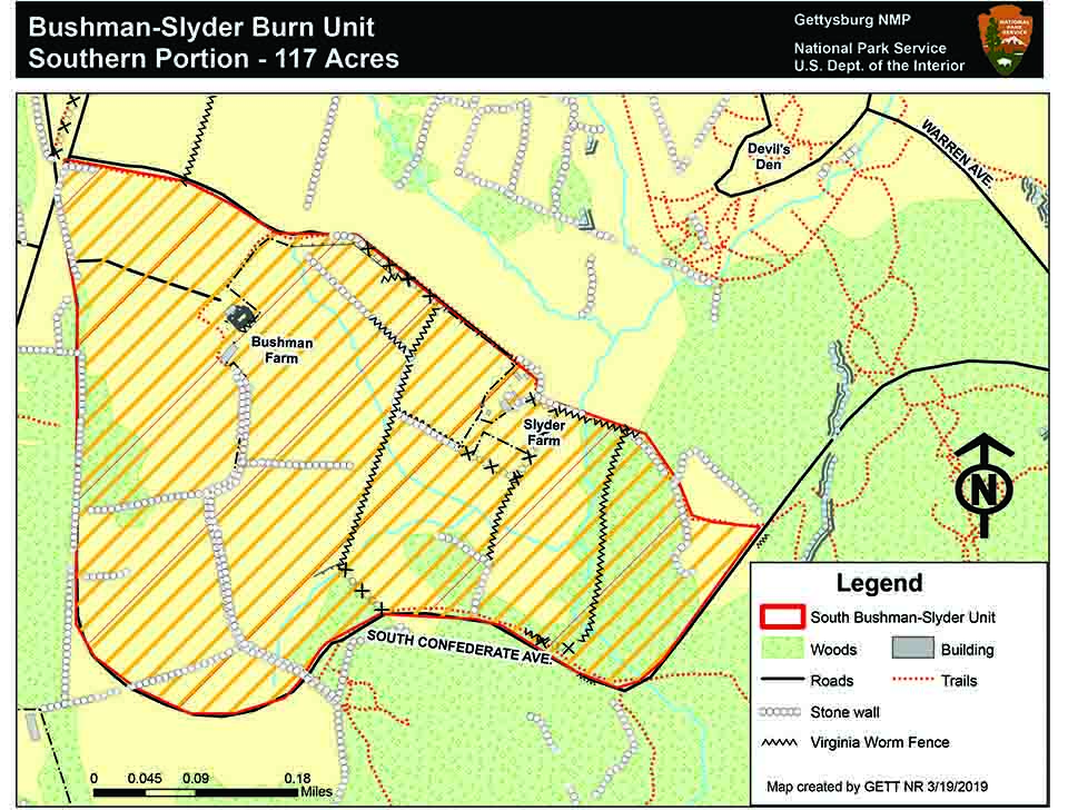 Map of the Bushman Slyder prescribed fire area on the south end of the battlefield.