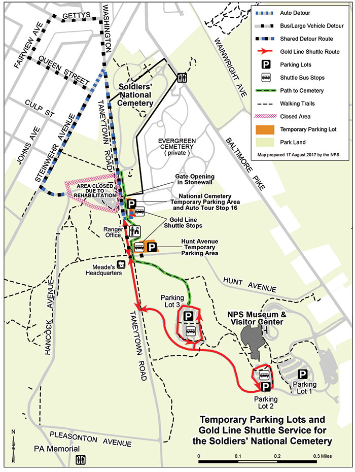 A map showing the National Cemetery closure area, detours, and temporary parking.