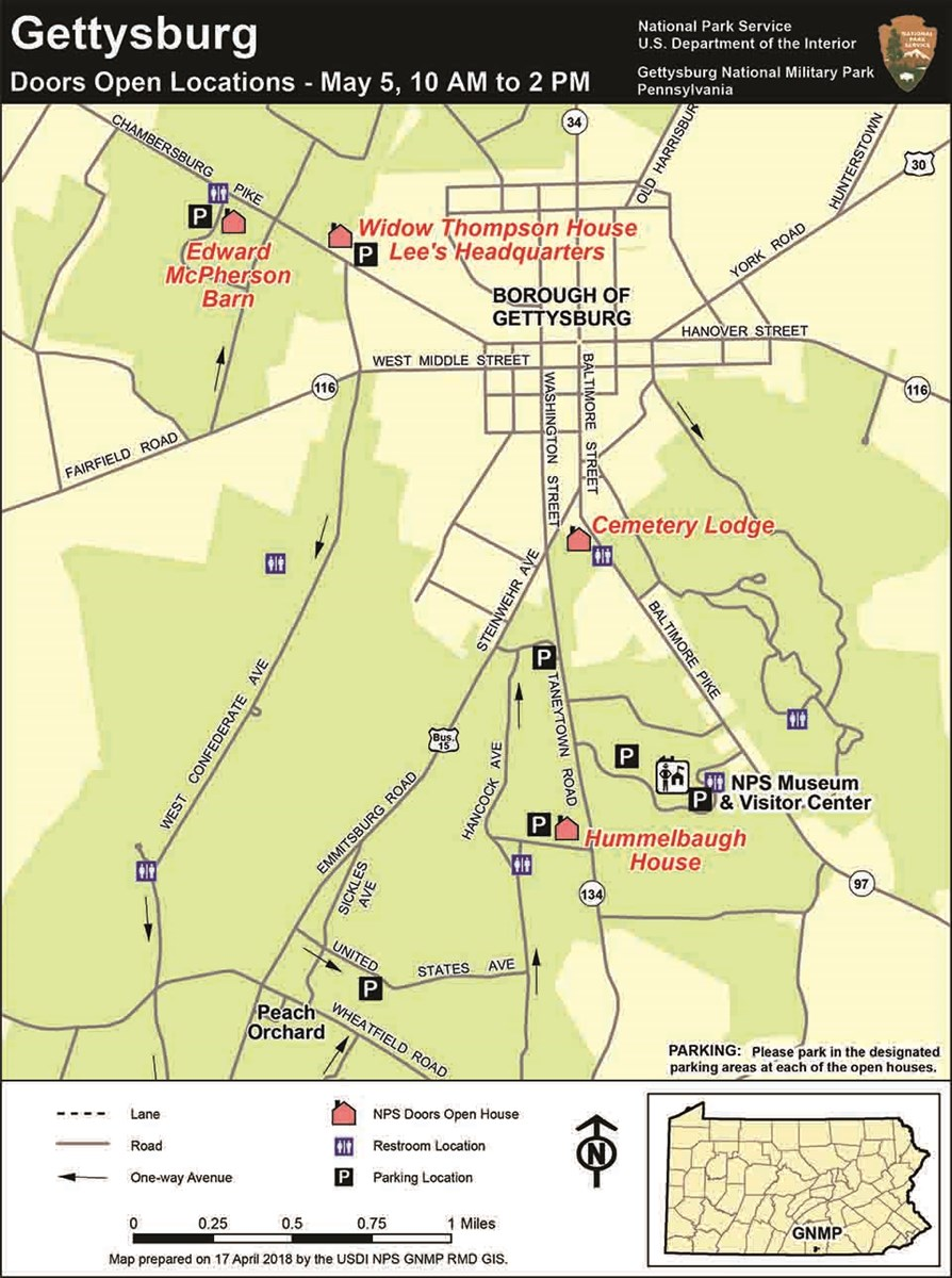 A map of Gettysburg showing the locations of the four Doors Open locations.