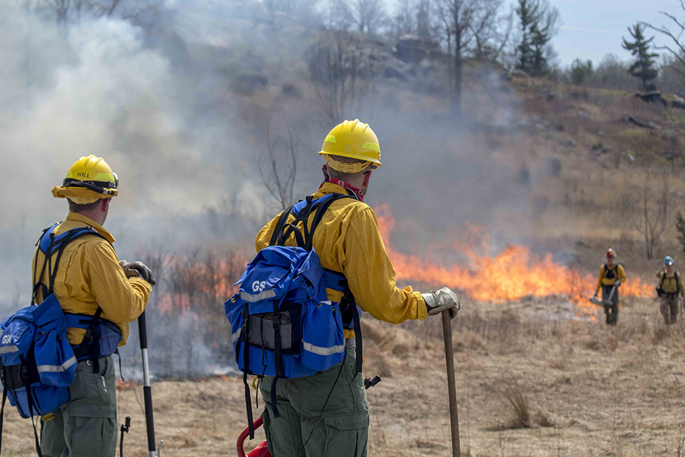 Two wildland firefighters, dressed in long sleeve yellow shirts, yellow hard hats, green pants, and blue back packs, watch over a prescribed fire as it slowly moves from left to right through a yellow matted grass field.