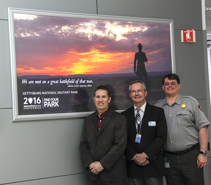 From left, Scott Miller, Deputy Director of Public Relations, Harrisburg International Airport; Timothy Edwards, Executive Director, Harrisburg International Airport; and Ed W. Clark, Superintendent of Gettysburg National Military Park and Eisenhower Nati