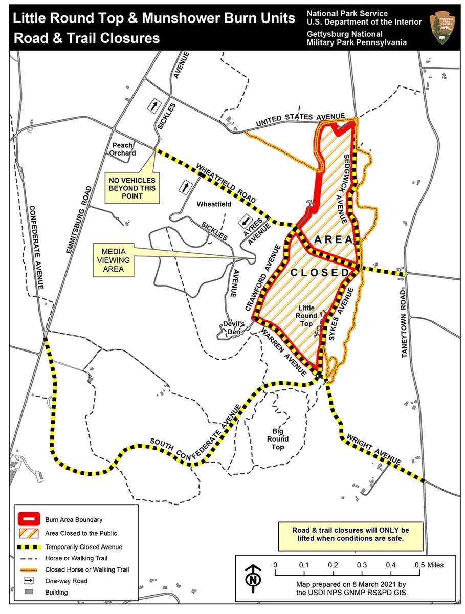 A map shows areas that are closed and road closures due to a scheduled prescribed fire.