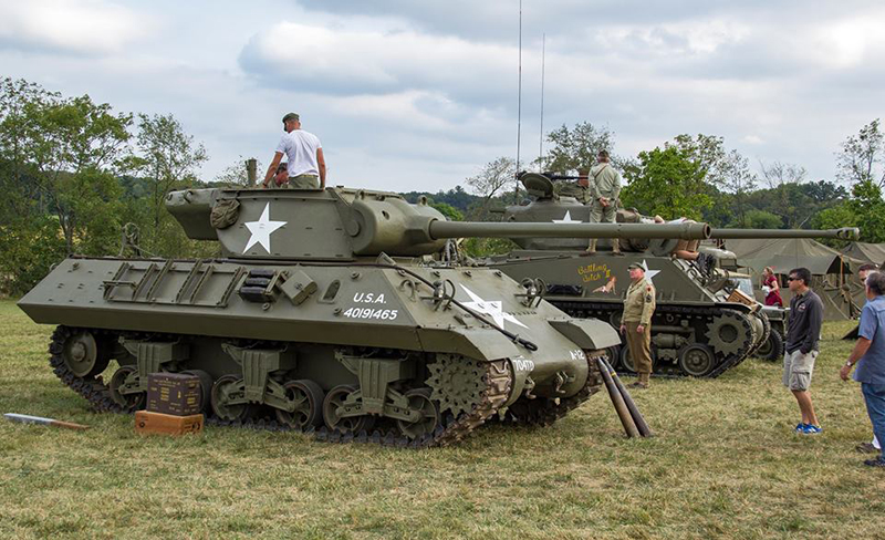Visitors get a closer look at an M4 Sherman tank at the Eisenhower National Historic Site World War II weekend.