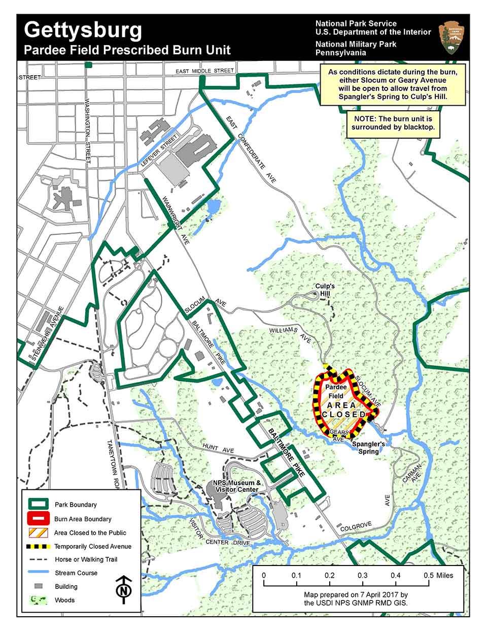 Pardee Field Prescribed Burn Gettysburg National Military Park - Gettysburg-on-us-map
