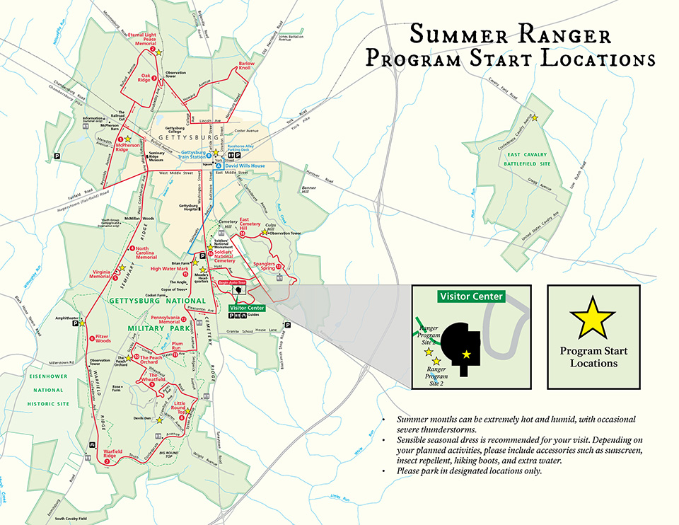 map of Summer Ranger Programs