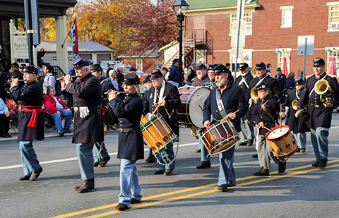 A Union living history band marches in the Dedication Day parade.