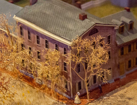 The David Wills House diorama shows the house in miniture.
