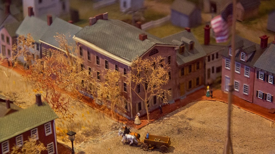 The Wills House from the diorama exhibit of downtown Gettysburg in the Wills House.