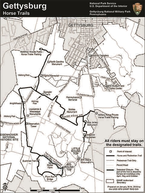 Pedestrian and Horse Trails map.