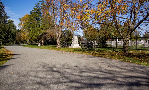 The upper walkway of the National Cemetery passes another artillery monument and cannons and the black iron fence the separates the Evergreen Cemetery from the National Cemetery.