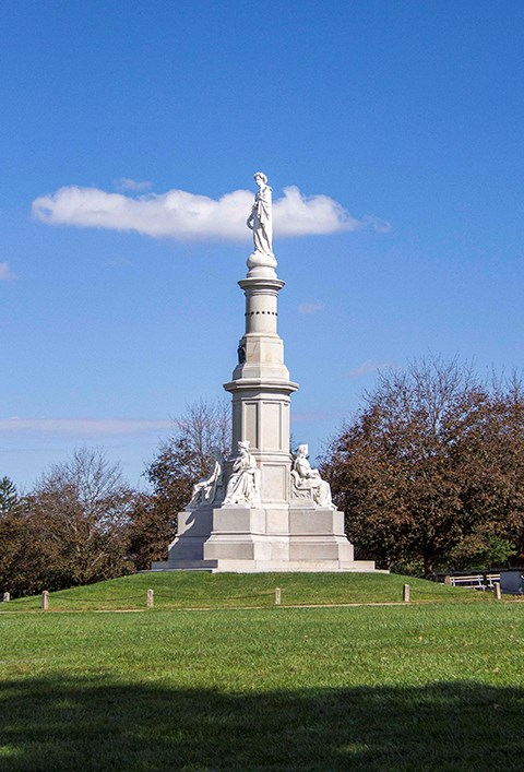 The Soldiers' National Monument sits in the center of the National Cemetery.