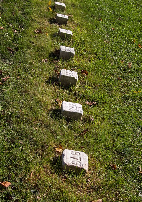 The unknown gravestones are small marble squares bearing only numbers. There are 979 unknown soldiers in these sections.