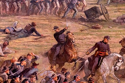 A close up of the Cyclorama Painting shows Union soldiers and officers on horseback.