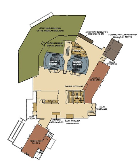 This museum map labels the building entrances, theaters, restrooms, bookstore, education center, refreshment saloon, and information, tickets, and memberships desks.