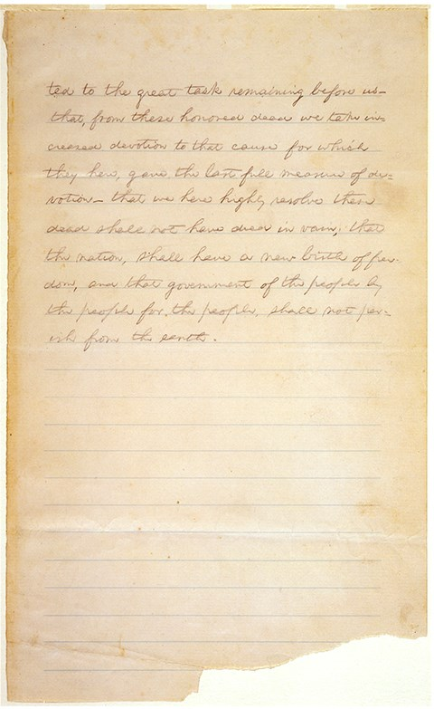 The second page of the Gettysburg Address was written at the home of David Wills on plain lined paper.