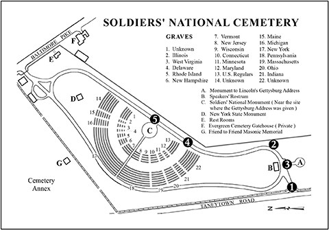 The Soldiers' National Cemetery map has five self guided stops.