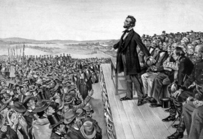 President Lincoln speaks at Gettysburg