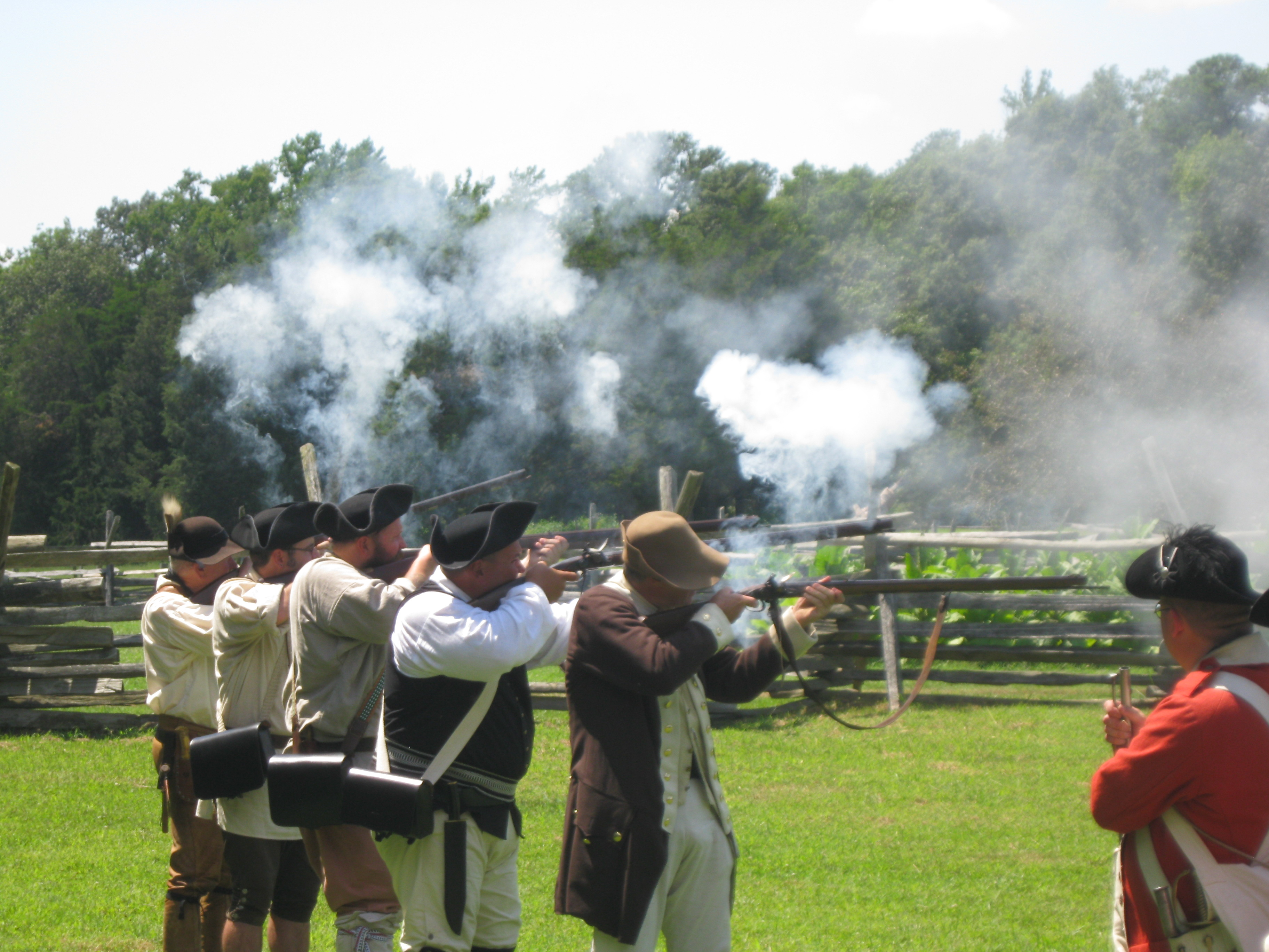 American militia fire a volley