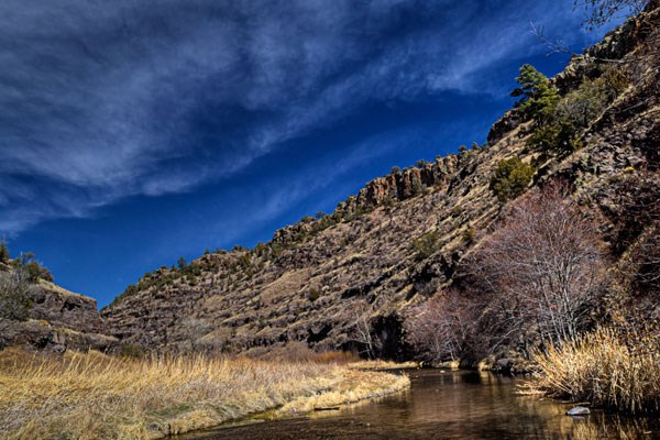 Scenic view up the Middle Fork of the Gila River.