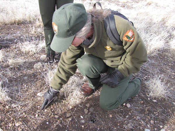 A park ranger points out an artificat found on the ground.