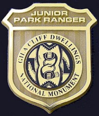 Gila Cliff Dwellings Junior Ranger badge.