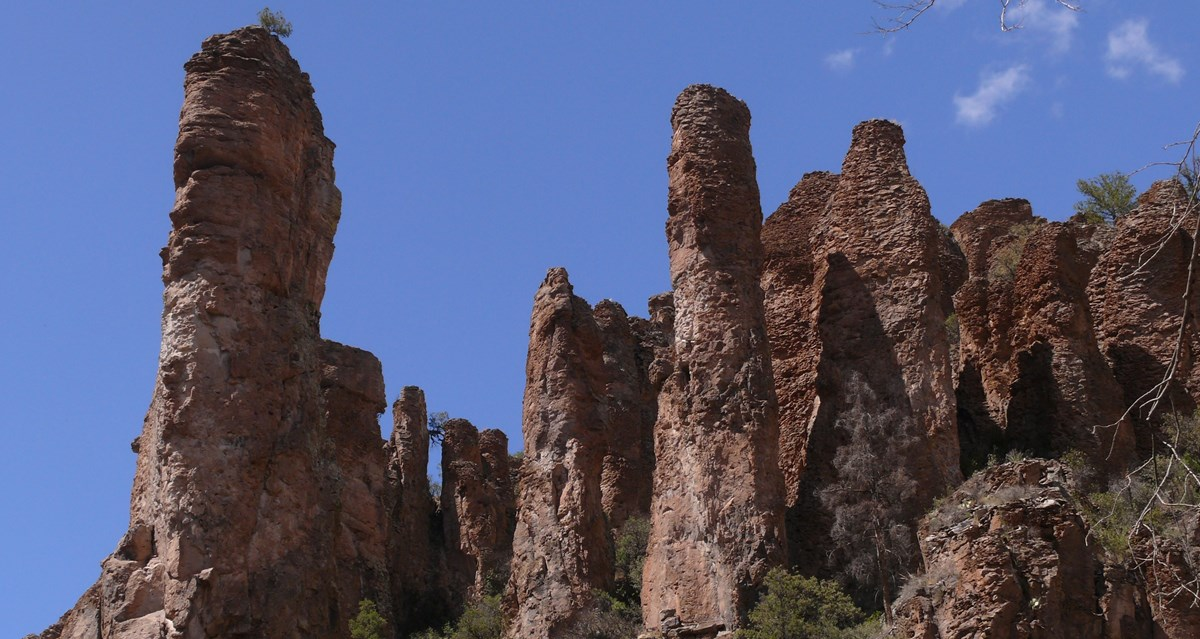 The dramatic peaks of the Bloodgood Tuff as it overlooks the Gila's Middle Fork.
