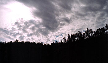 A photo of dark clouds gathering above a tree lined ridge.