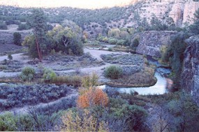A photo of the winding headwaters of the Gila River north of the Forks Campground