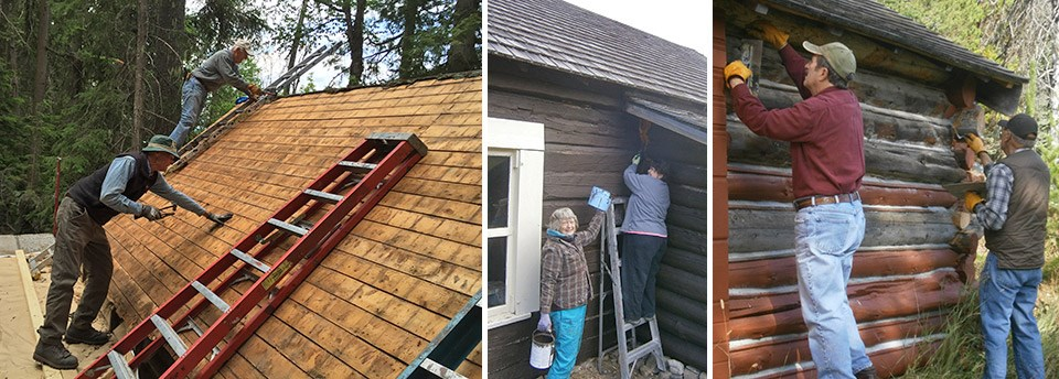 collage of volunteers working on rustic cabins (hammering on roof, chinking)