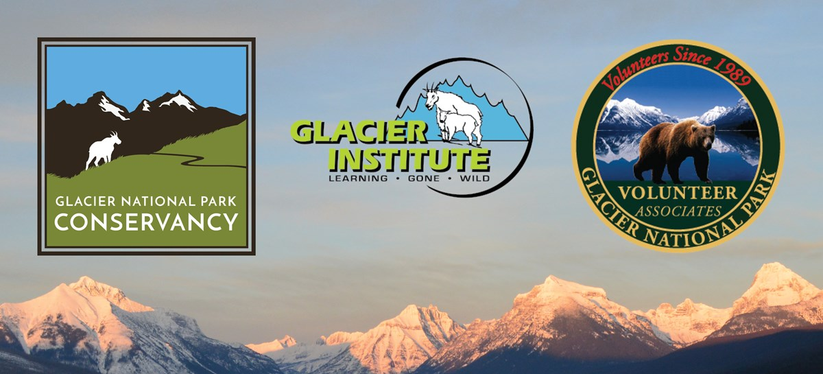 The logos of the three park partners, The Glacier National Park Conservancy, the Glacier Institute, and the Glacier National Park Volunteer Associates, superimposed over a scene of the mountains behind Lake McDonald