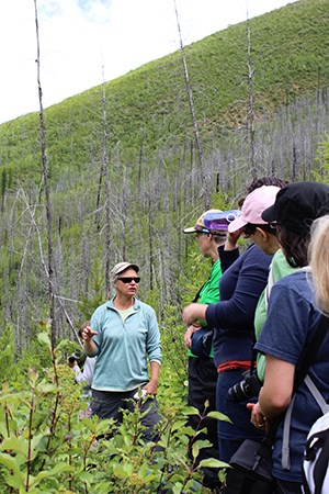 Hikers pause on trail in recent burn area facing a speaker in sunglasses