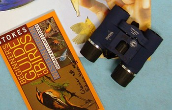 binoculars laying next to a bird field guide book