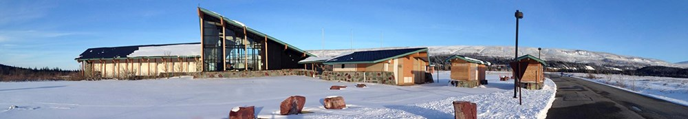 St. Mary Visitor Center with snow on ground