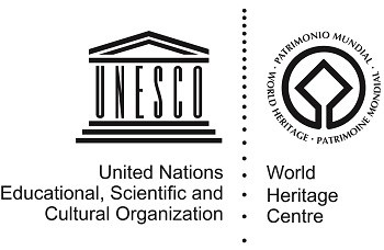 Pair of graphics: stylized greek temple on left and on right diamond surrounded by words World Heritage in 3 languages