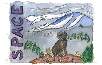 Student drawing of bighorn sheep in mountains