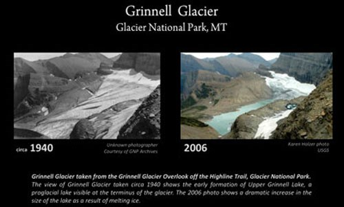 Side by side comparison of historic and modern glacier from same viewpoint