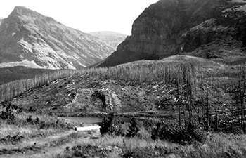 Historic image of burn area near mountain pass
